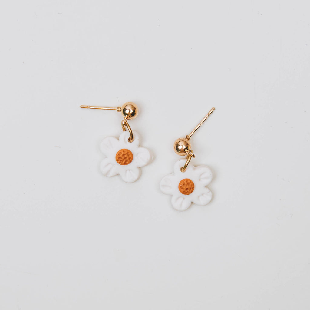 Mini Floral Drop Earrings - White