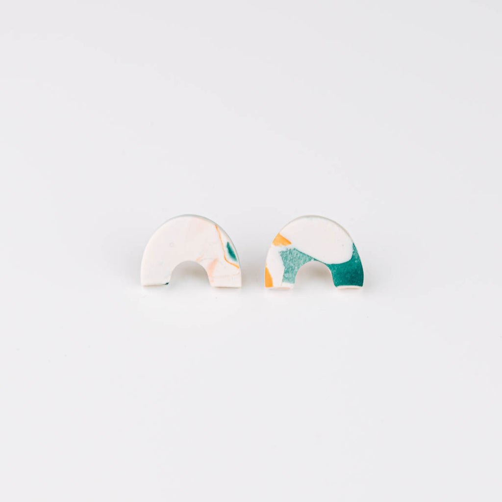 Organic Arc Stud Earrings in Lagoon Watercolour