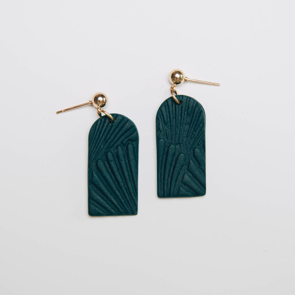 Archway Shell Drop Earrings in Deep Teal