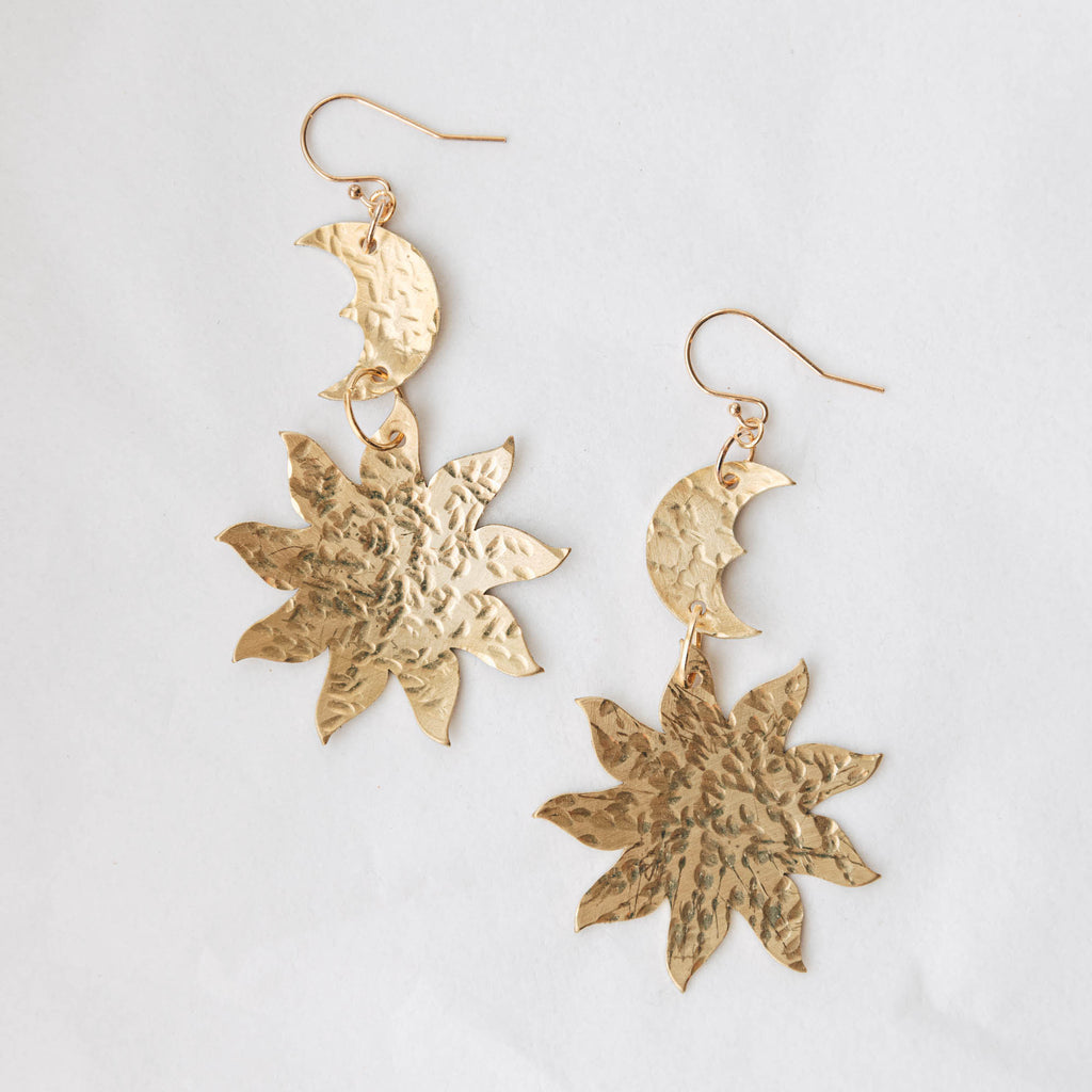 Daydream Drop Statement Earrings in Hammered Brass