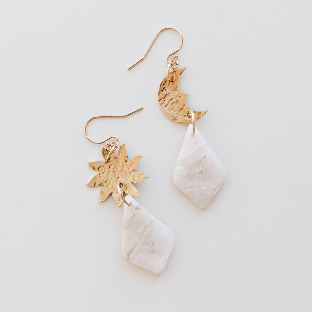 Sun & Moon Beam Drop Earrings in Milky Marble