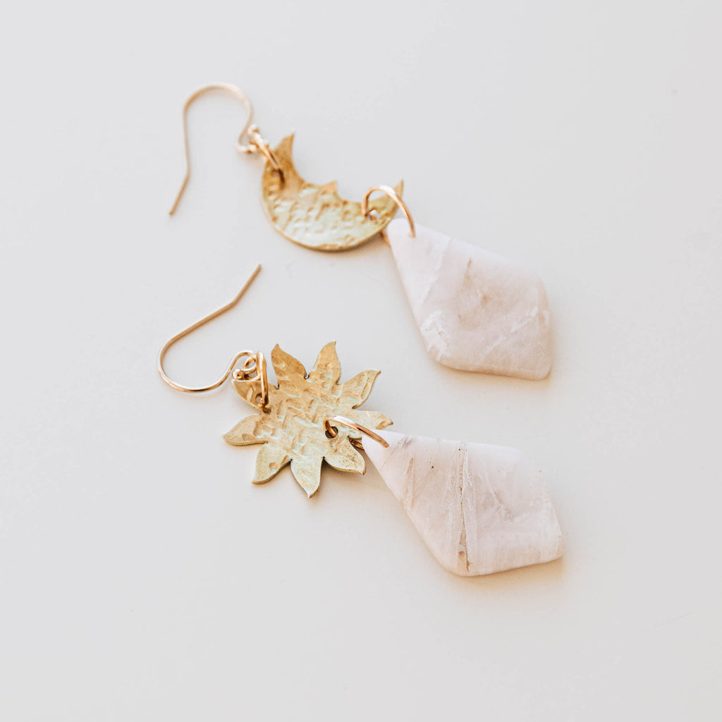 Sun & Moon Beam Drop Earrings in Powder Blue Marble