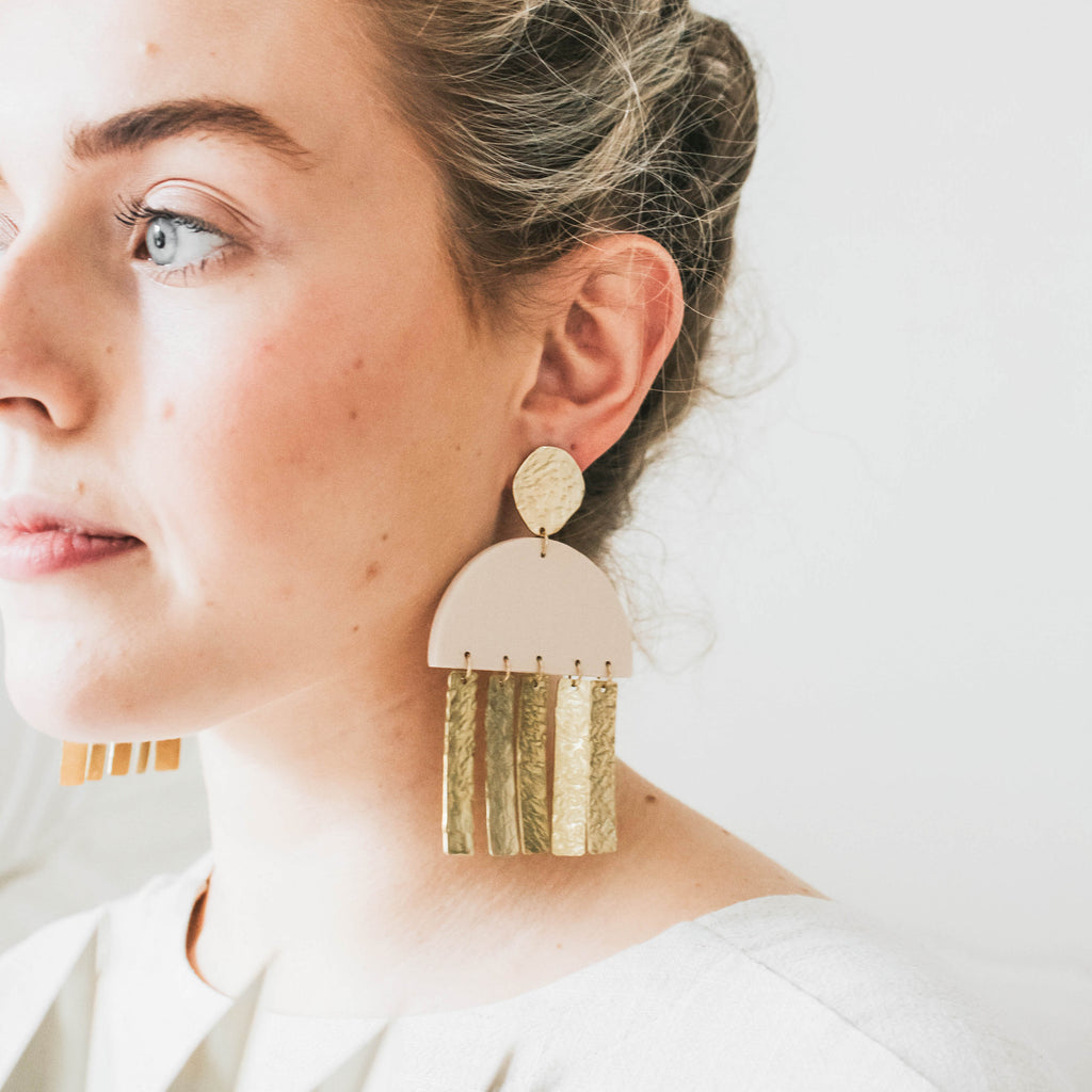 Zara Statement Half Circle Earrings in Warm Oat