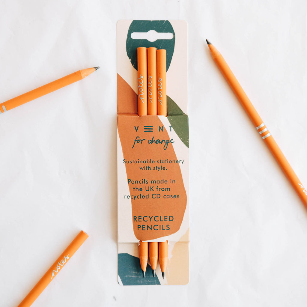 Recycled Orange Pencil - Set of 3