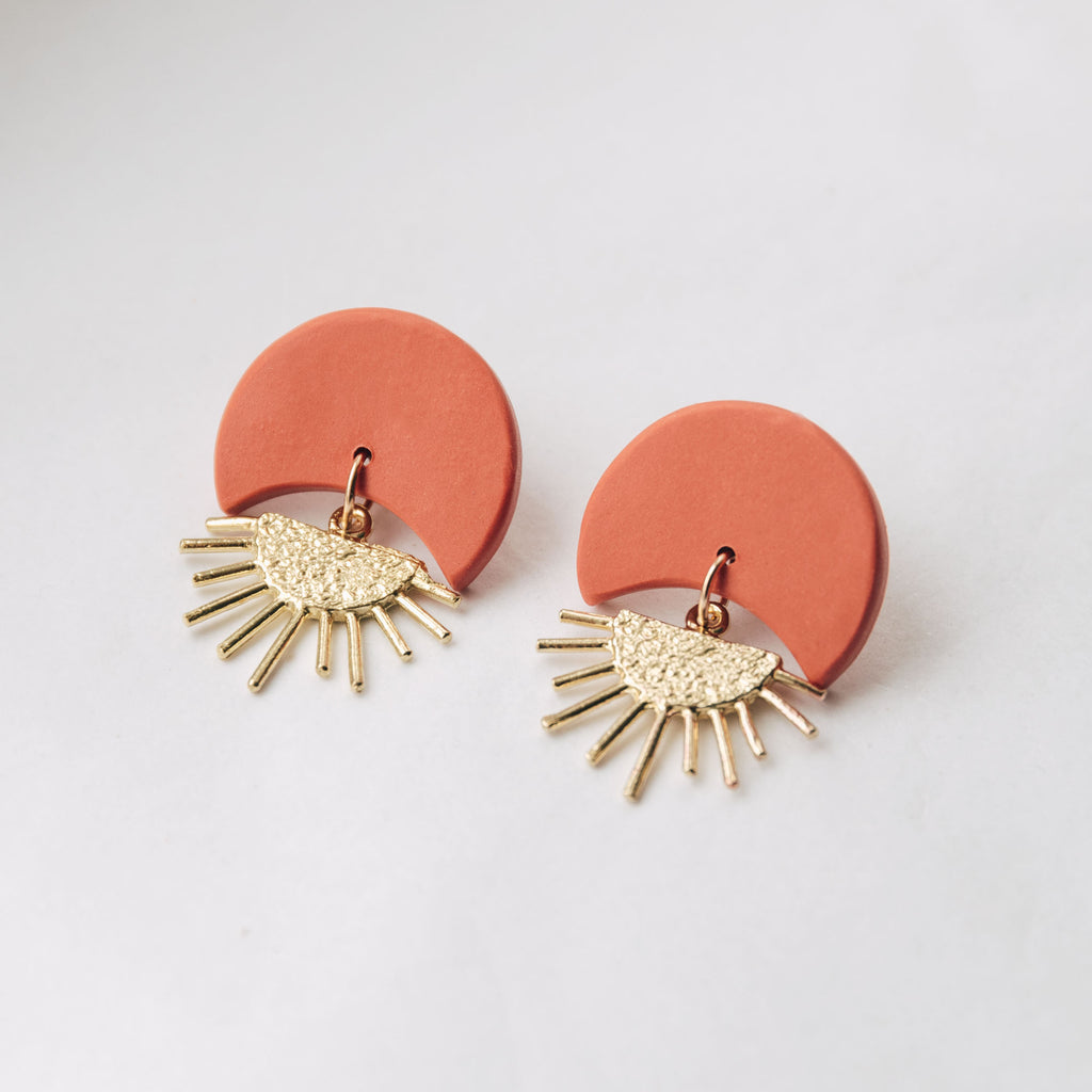 Sunset II Earrings in Terracotta