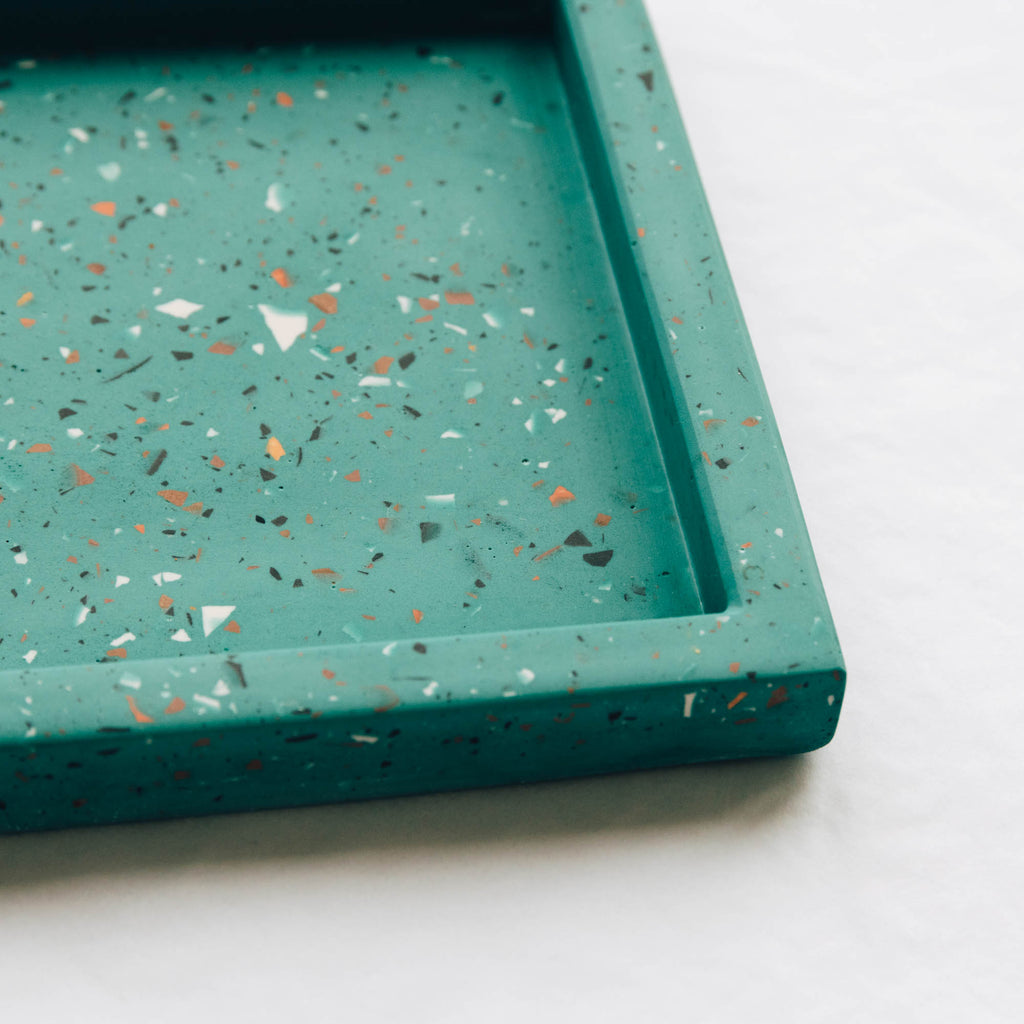 Rectangle Terrazzo Tray - Teal