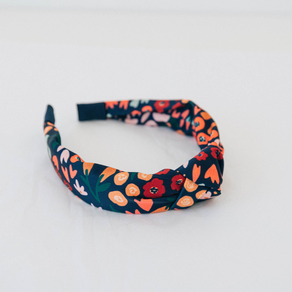 Recycled Satin Feel Knot Headband - Navy With Flowers