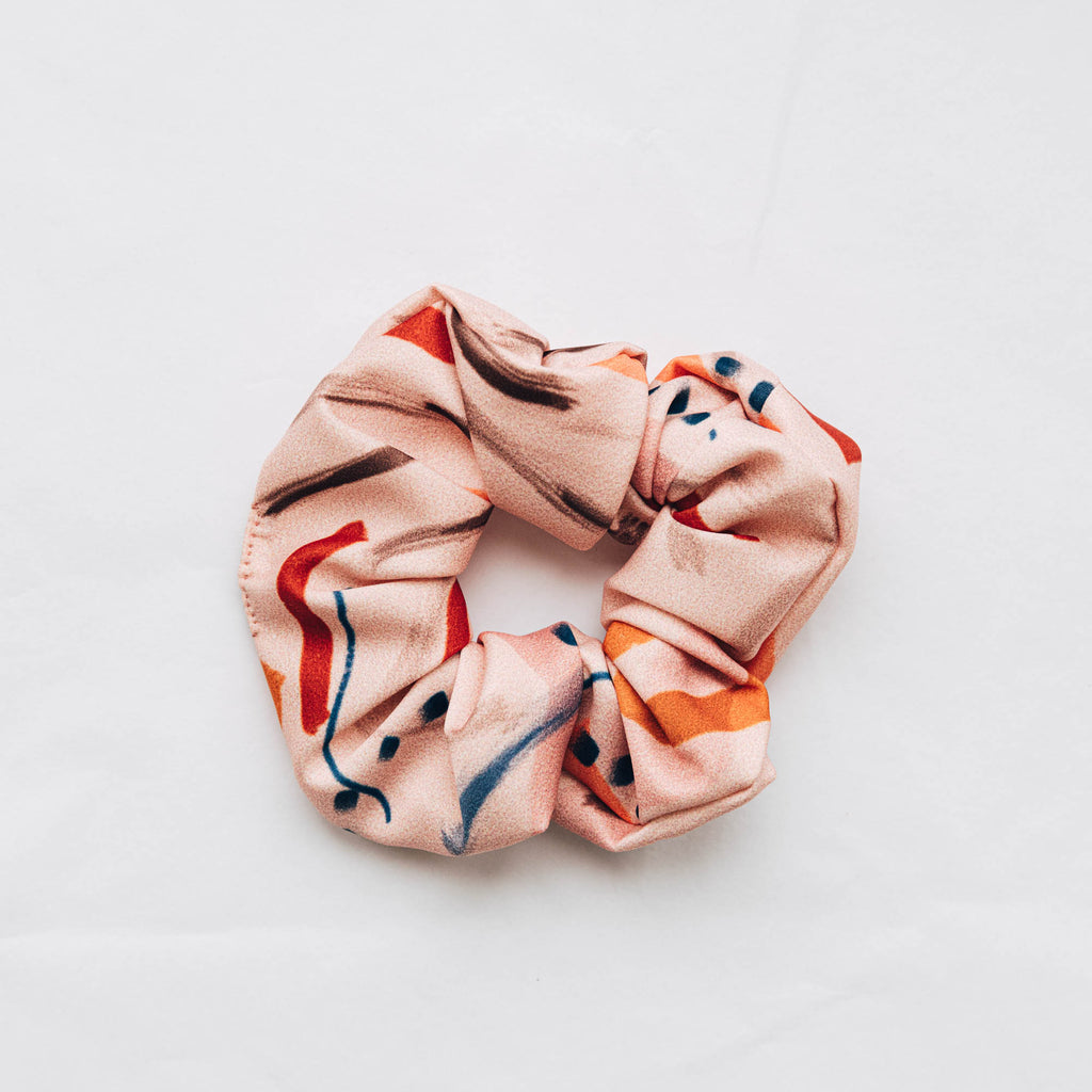 Recycled Satin Feel Scrunchie - Pink with Blue and Orange Dash Detail