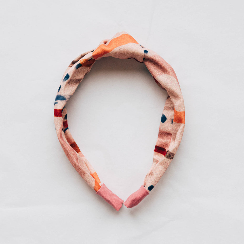 Recycled Satin Feel Knot Headband - Pink with Blue & Orange Dash