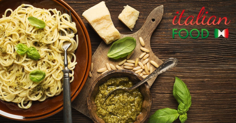 Pesto Spaghetti with Anchovies & Peppers
