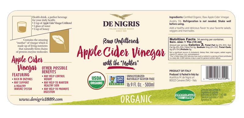 Organic Apple Cider Vinegar Raw & Unfiltered (1 lt) by De Nigris - 34 fl oz