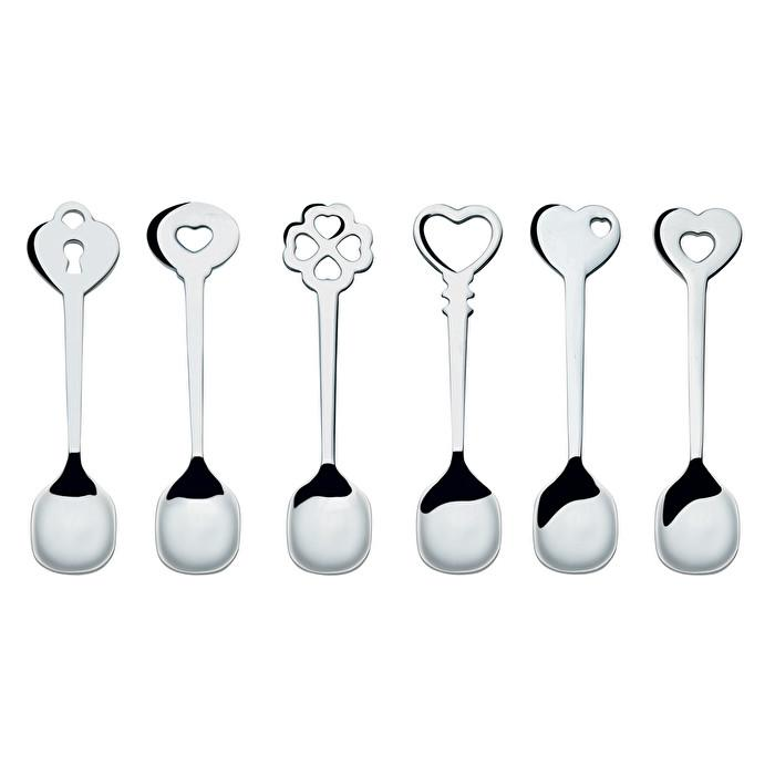 Love Key Teaspoons (Set of 6) Stainless Steel by Guzzini