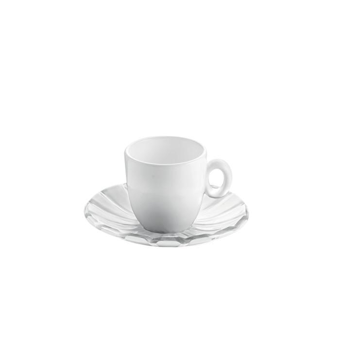 "Porcelain Espresso Cups with Saucers (Set of 2) ""Grace"" by Guzzini"