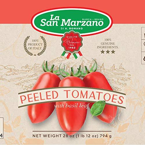 Whole Plum Tomatoes Peeled with Basil Leaf from Italy by La San Marzano - 6 cans x 28 oz