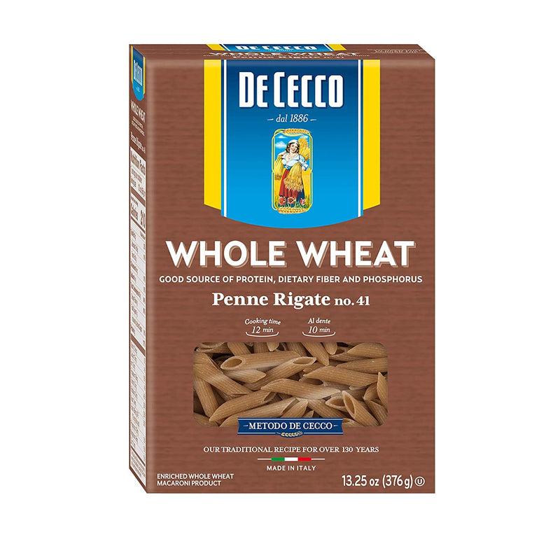 Whole Wheat Penne Rigate Pasta from Italy by De Cecco no. 41 - 13.25 oz