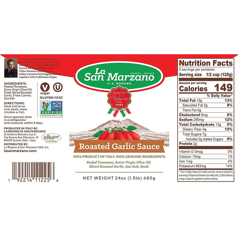 Roasted Garlic Tomato Sauce by La San Marzano - 3 jars x 24 oz each