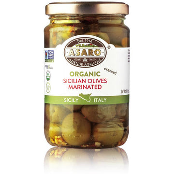 Organic Cracked Marinated Olives Jar (170 grams) by Asaro - 5.9 oz