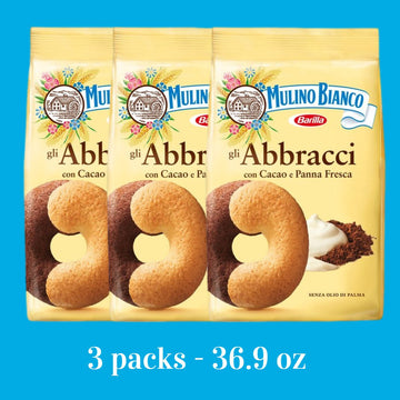 Abbracci Boundle Cookies Hugs Shape (3 PACKS) by Mulino Bianco - (12.3 oz x 3) Tot. 36.9 oz