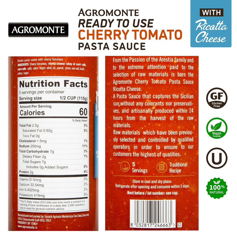 Ricotta Cheese Pasta sauce with cherry tomato by Agromonte - 20.46 oz