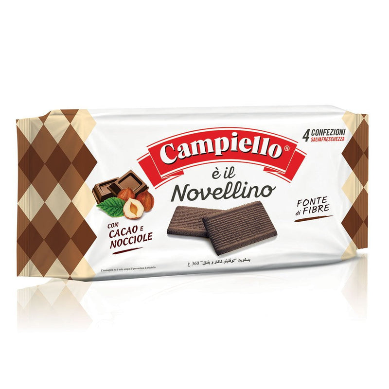 "Fiber Cookies with Chocolate and Hazelnut ""Novellino"" by Campiello - 12.7 oz"