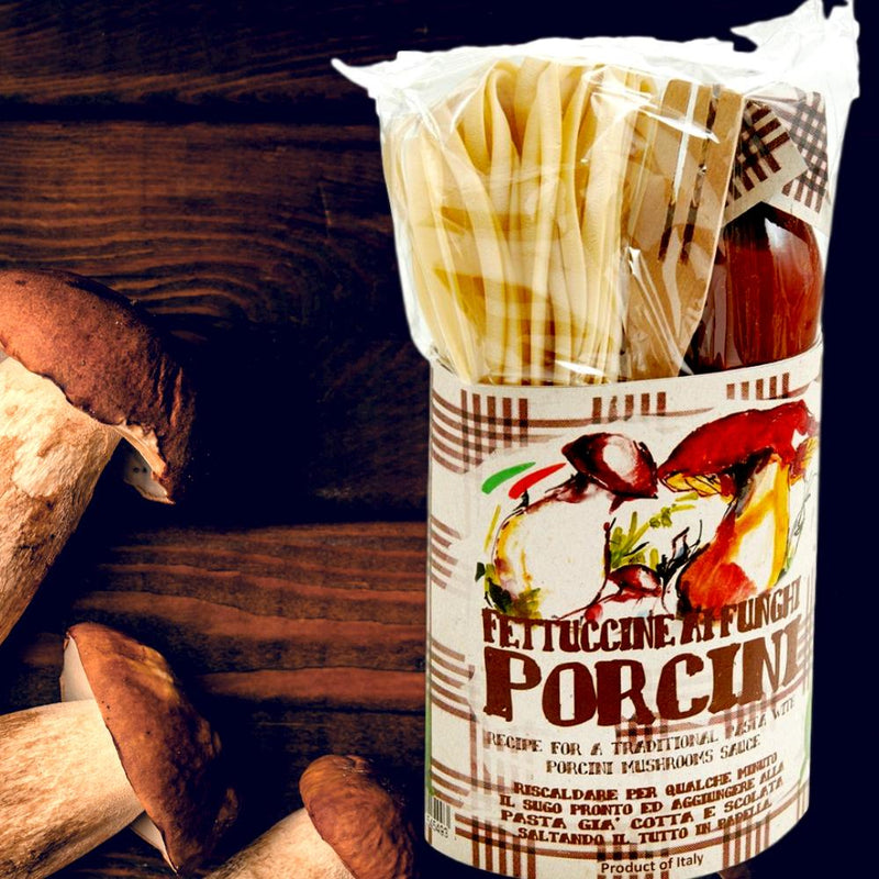 Pappardelle with Porcini Mushroom Pasta Sauce Gift Set Kit With Wooden Spoon by Casarecci di Calabria