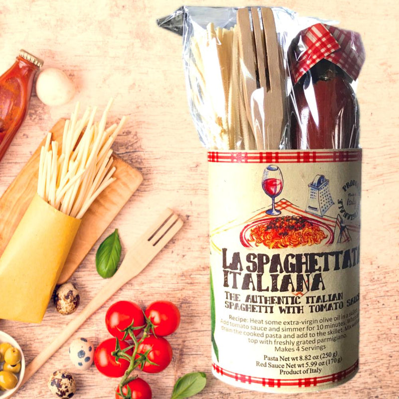 Spaghetti with Tomato Pasta Sauce Gift Set Kit With Wooden Spoon by Casarecci di Calabria