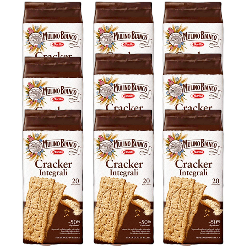 Whole Wheat Italian Crackers Bundle by Mulino Bianco - 9 packs x 17.63 oz each