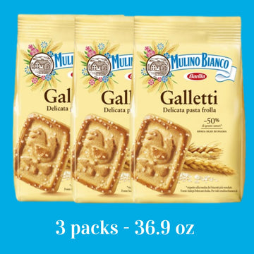 Galletti Boundle Rooster Shape Cookies (3 PACKS) by Mulino Bianco - (12.3 oz x 3) Tot. 36.9 oz