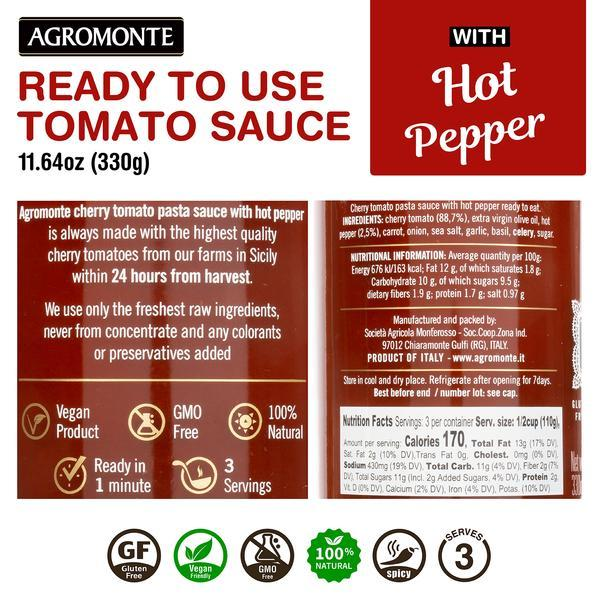 Ready Cherry Tomato Sauce with Hot Pepper by Agromonte - 11.64 oz