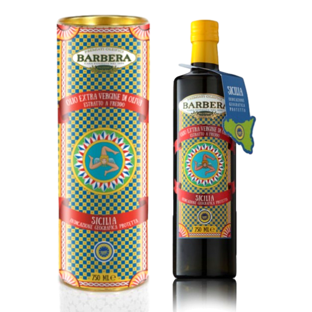 "Extra Virgin Olive Oil PGI ""Sicilia"" processed w/ Cold Extraction Gift Box (750 ml) by Barbera  - 25.4 fl oz"