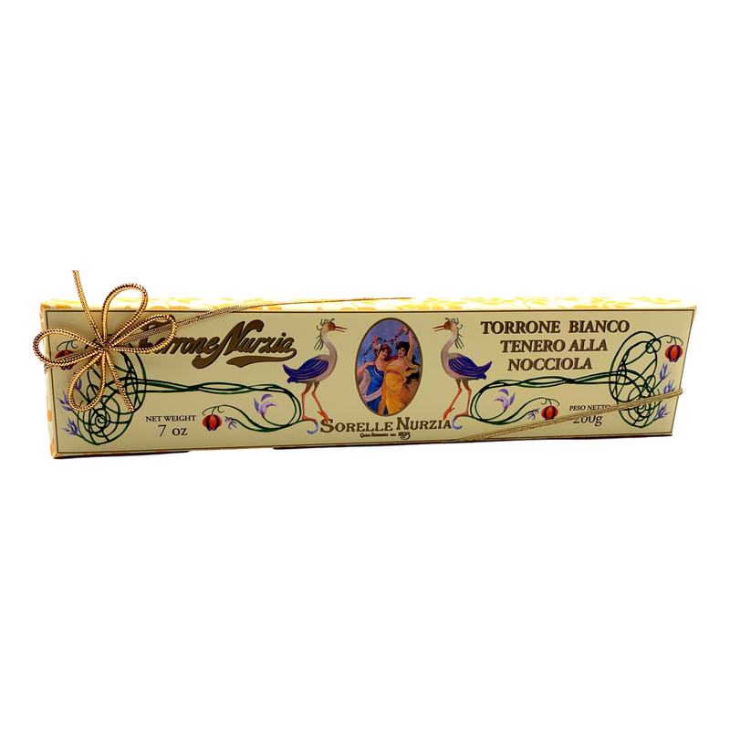 White Soft Nougat Torrone with Hazelnuts by Sorelle Nurzia - 7 oz