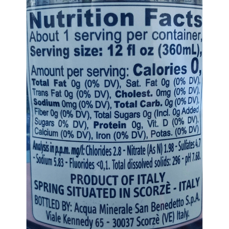 Italian Still Water by San Benedetto - Case of 6 Bottles x 16.9 oz