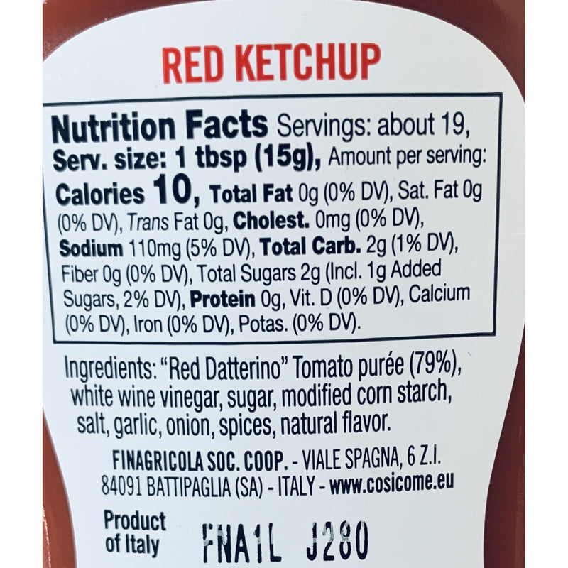 Ketchup Red Datterino Tomatoes 100% Italian (280 grams) by Così Com'è - 9.88 oz