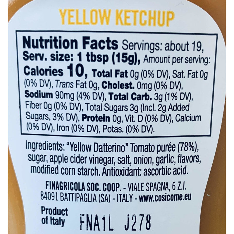 Ketchup Yellow Datterino Tomatoes 100% Italian (280 grams) by Così Com'è - 9.88 oz