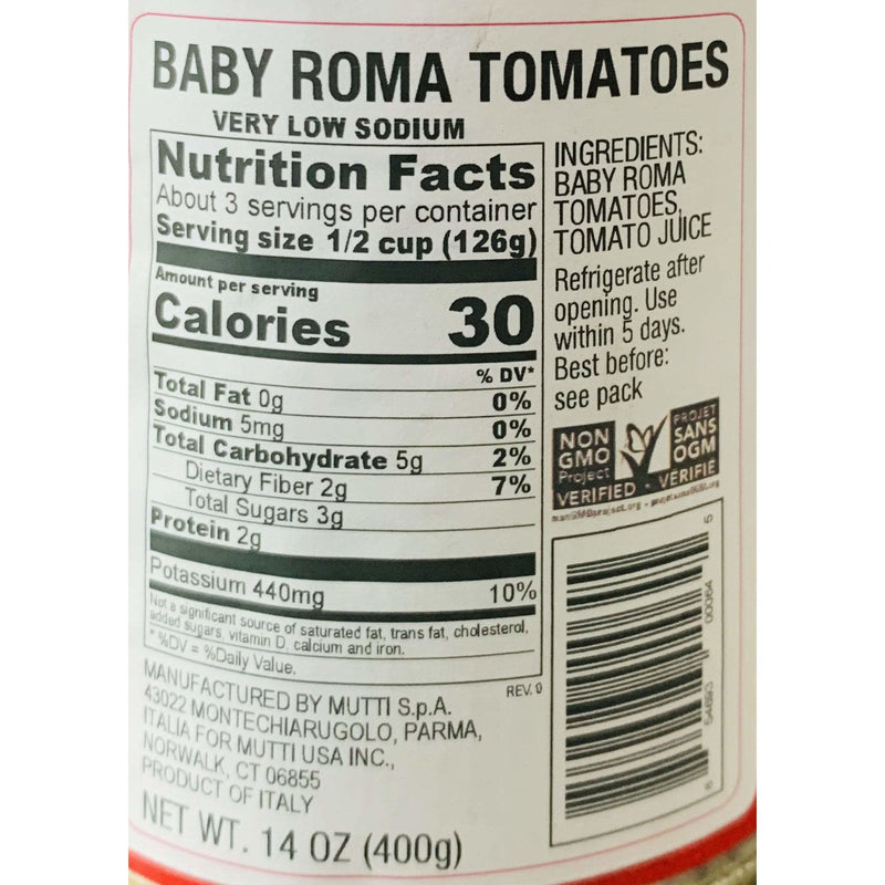 Baby Roma Tomatoes (400 grams) by Mutti - 14 oz