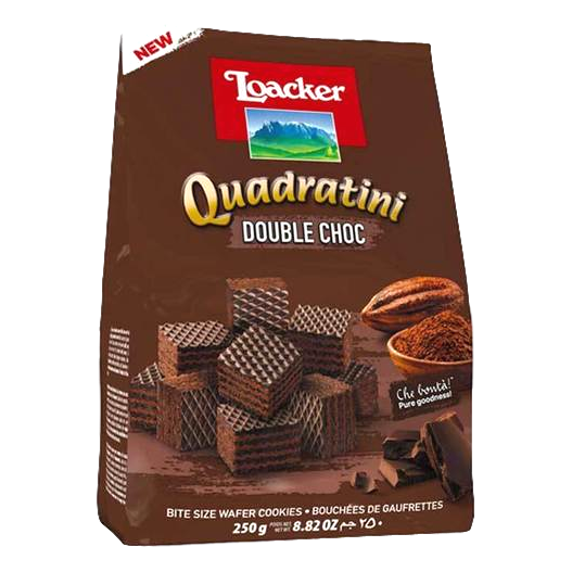 "Wafers w/ Double Chocolate Cream Filling ""Quadratini"" by Loacker -  8.82 oz"