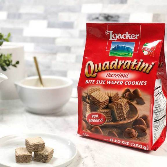 "Wafers w/ Dark Hazelnut Cream Filling ""Quadratini"" by Loacker -  8.82 oz"
