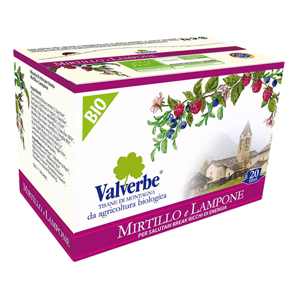 "Organic Herbal Tea Infusion ""Blueberry & Raspberry "" by Valverbe - 20 bags x 1.07 oz"