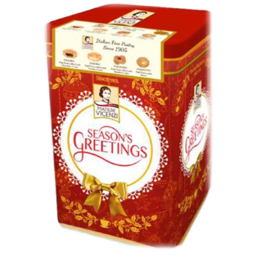 Season's Greetings Tin with Puff Pastries by Vicenzi - 13.05 oz