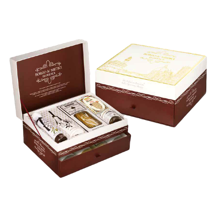 Luxury Florentine Hamper (2 layers) by Borgo de' Medici - 2.6 lb + 8.8 fl oz