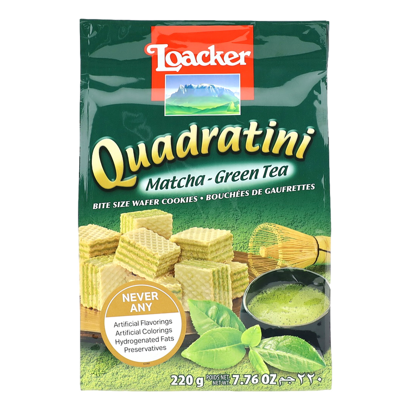 "Wafers w/ Matcha - Green Tea Cream Filling ""Quadratini"" by Loacker -  7.76 oz"