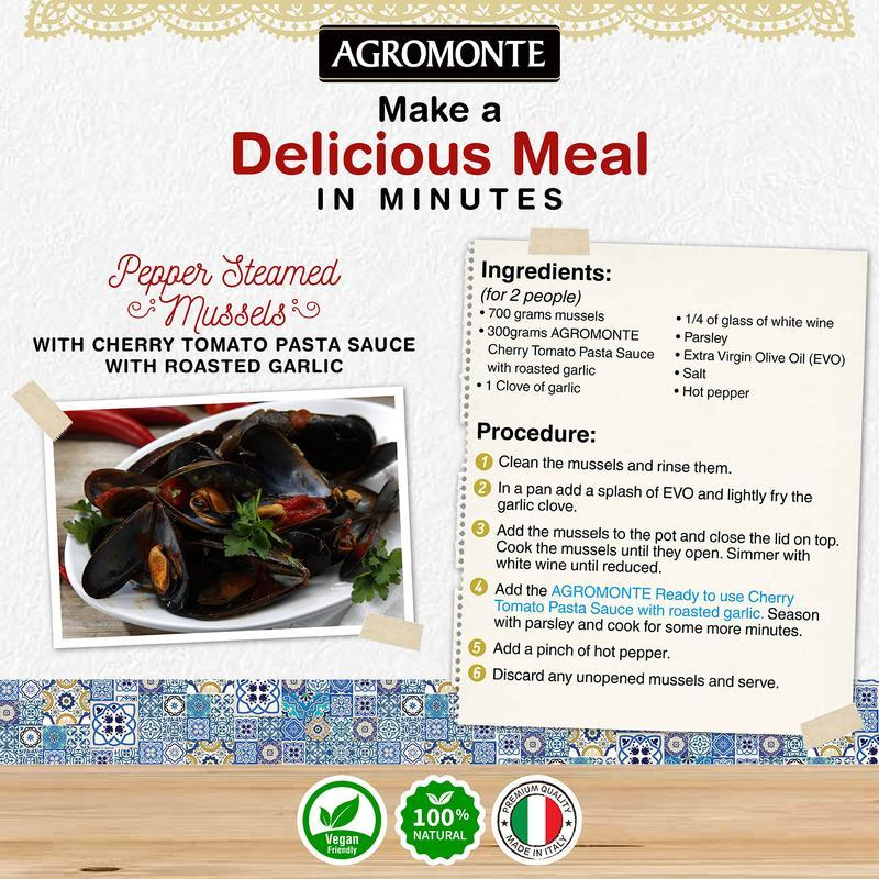 Roasted Garlic Pasta sauce with cherry tomato by Agromonte - 20.46 oz