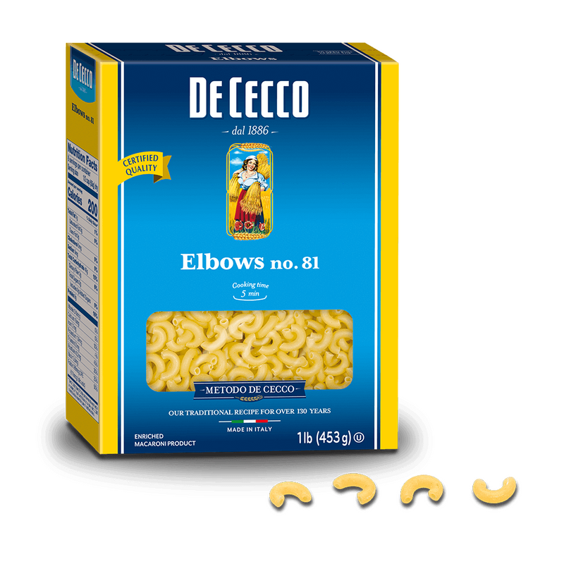 Elbows Pasta from Italy by De Cecco no. 81 - 1 lb
