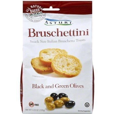 Bruschettini Toasts with Black and Green Olives by Asturi - 6 packs x 4.2 oz