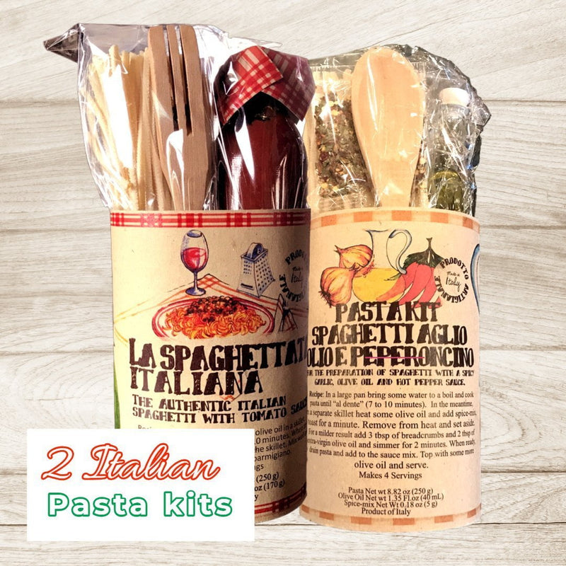 Caserecci di Calabria Pasta Italian Pasta Kits Spaghetti Garlic, Olive Oil & Hot Pepper and Tomato Sauce (2 packs) by Casarecci di Calabria
