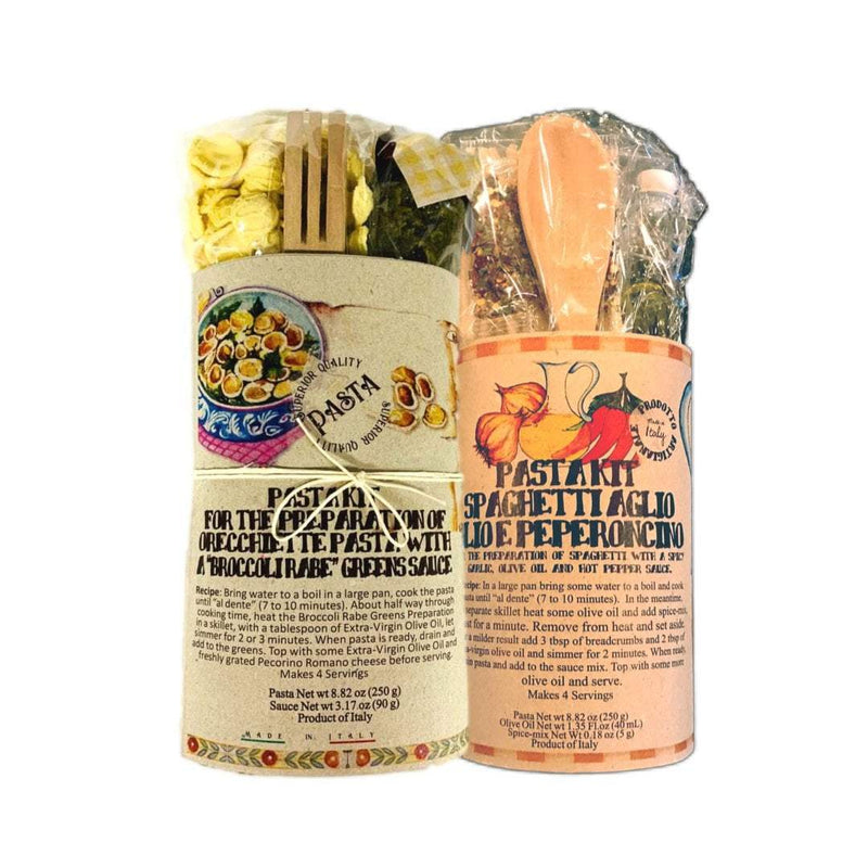 Caserecci di Calabria Pasta Orecchiete Broccoli Rabe + Spaghetti Garlic, Olive Oil & Hot Pepper Pasta Sauce Gift Set Kit 2 packs