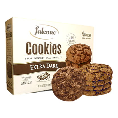 Crunchy Cookies with Extra Dark Chocolate (4 pcs x 1.76 oz) by Falcone - 7.05 oz