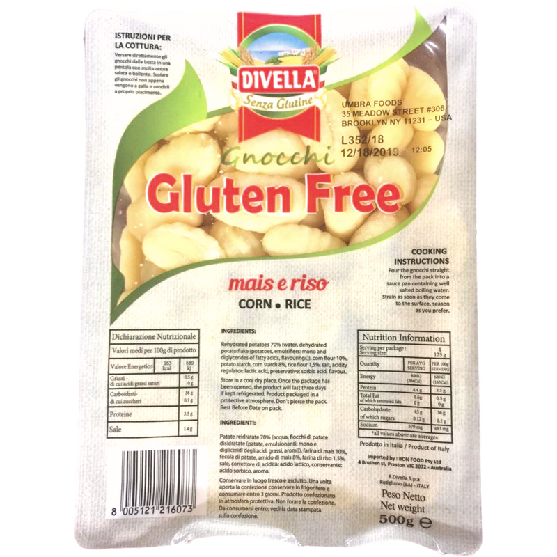 Gluten Free Gnocchi  with Corn & Rice by Divella - 17.6 oz. - Italian Food Online Store