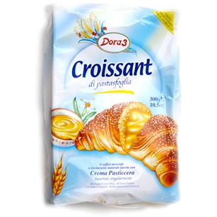 Custard Cream Croissants of puff pastry by Dora3 (6 croissants) - 10.5 oz. - Italian Food Online Store