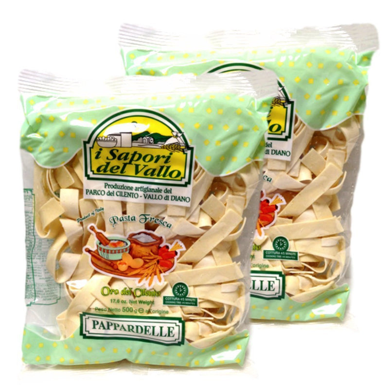 Fresh Pasta Pappardelle by I Sapori del Vallo (2 packs x 17.6 oz.) - Total 35.20 oz. - Italian Food Online Store